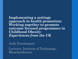 Implementing a settings approach to health promotion