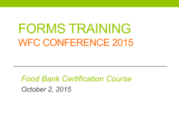 Forms Training WFC Conference