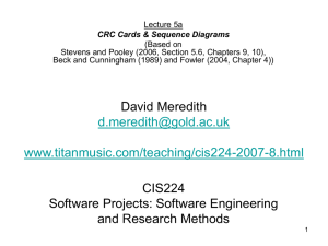 CRC Cards and Sequence Diagrams