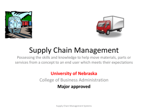 Supply Chain Management - University of Nebraska–Lincoln