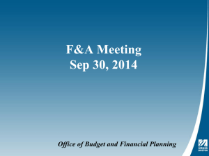 Budget and Financial Planning Update