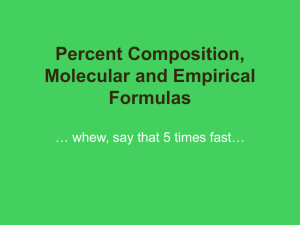 Percent Composition, Molecular and Empirical Formulas