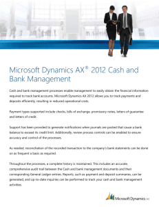 Cash and Bank Management Data Sheet