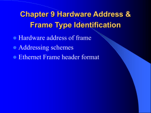 Chapter 8 Hardware Address & Frame Type Identification