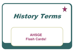 History Terms AHSGE Flash Cards!