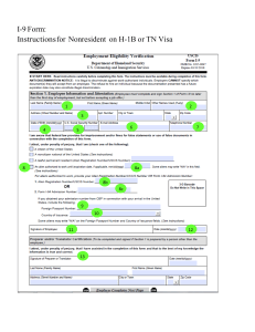 I-9 Form: Instructions for Nonresident on H