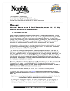 Manager, Human Resources & Staff Development