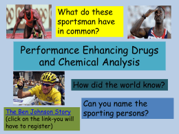 Performance Enhancing Drugs and Analysis