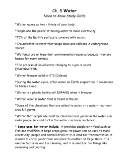 Science...Ch. 5 Study Guide Water