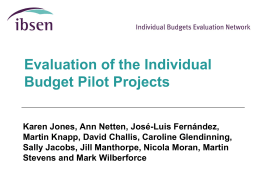 IBs - Personal Health Budgets Evaluation
