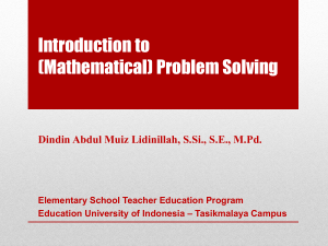 Introduction to (Mathematical) Problem Solving