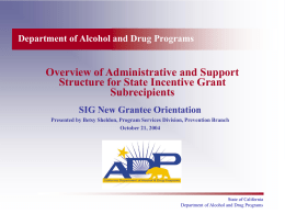 Overview of Administrative and Support Structure for SIG