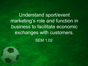 Understand sport/event marketing*s role and function in business to
