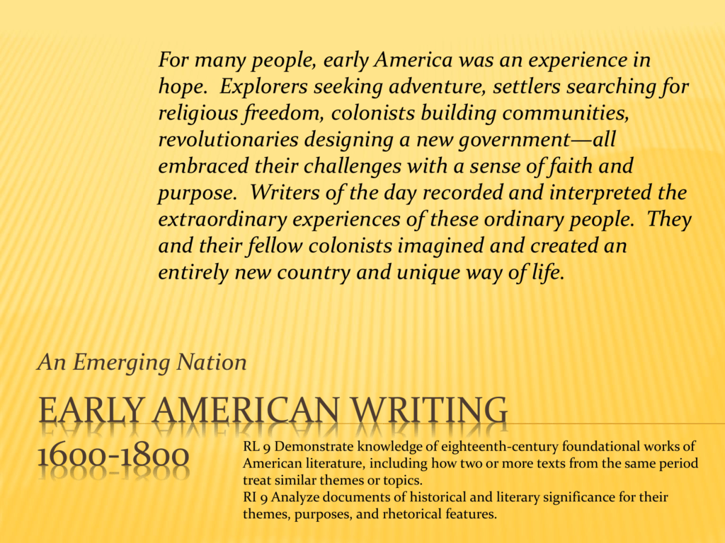 Outlining Early American Writing
