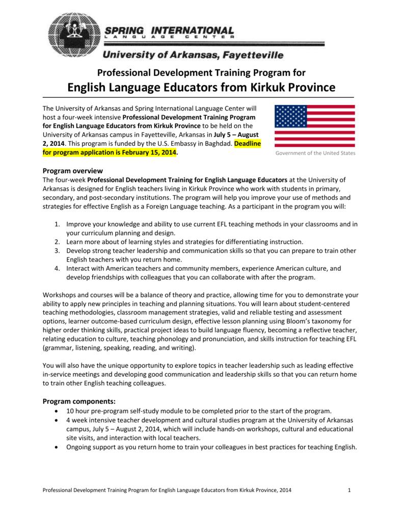 Professional Development Training Program for English Language