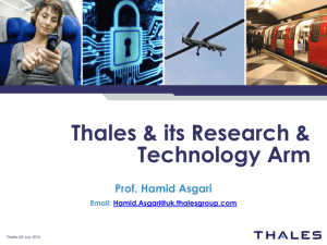 Welcome to Thales UK - Centre for Telecommunications Research