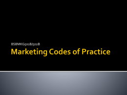Marketing Codes of Practice