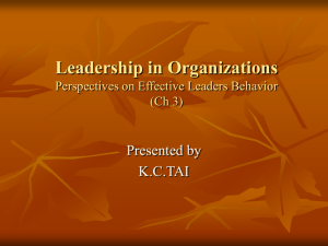 Leadership in Organizations Perspectives on Effective Leadership