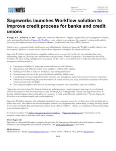 Sageworks launches Workflow solution to improve credit process for