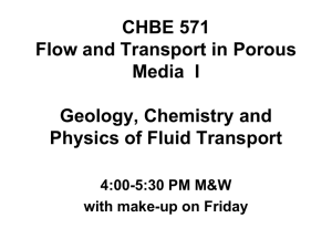 CENG 571 Flow and Transport in Porous Media I Geology