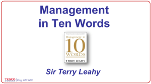 Sir Terry Leahy - MANAGEMENT IN 10 WORDS 16 9