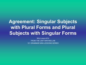 Agreement: Singular Subjects with Plural Forms and Plural Subjects