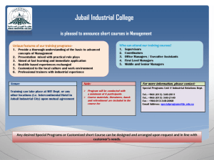 Jubail Industrial College is pleased to announce short courses in