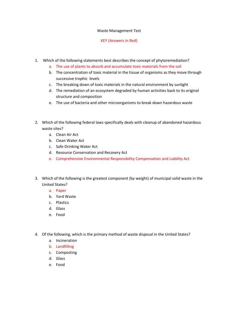 Waste Management Test KEY (Answers in Red) Which of the