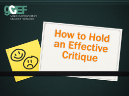 Effective Critique Presentation