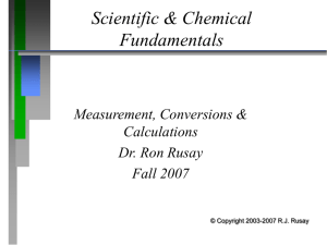 PowerPoint Presentation - Scientific & Chemical Foundations