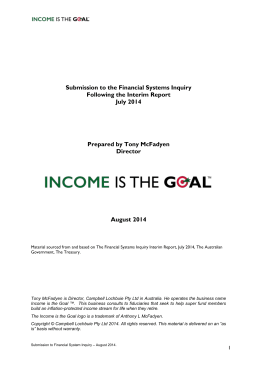 Income is the Goal - Submission to the Financial System Inquiry