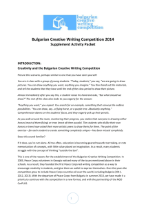 Creativity and the Bulgarian Creative Writing Competition