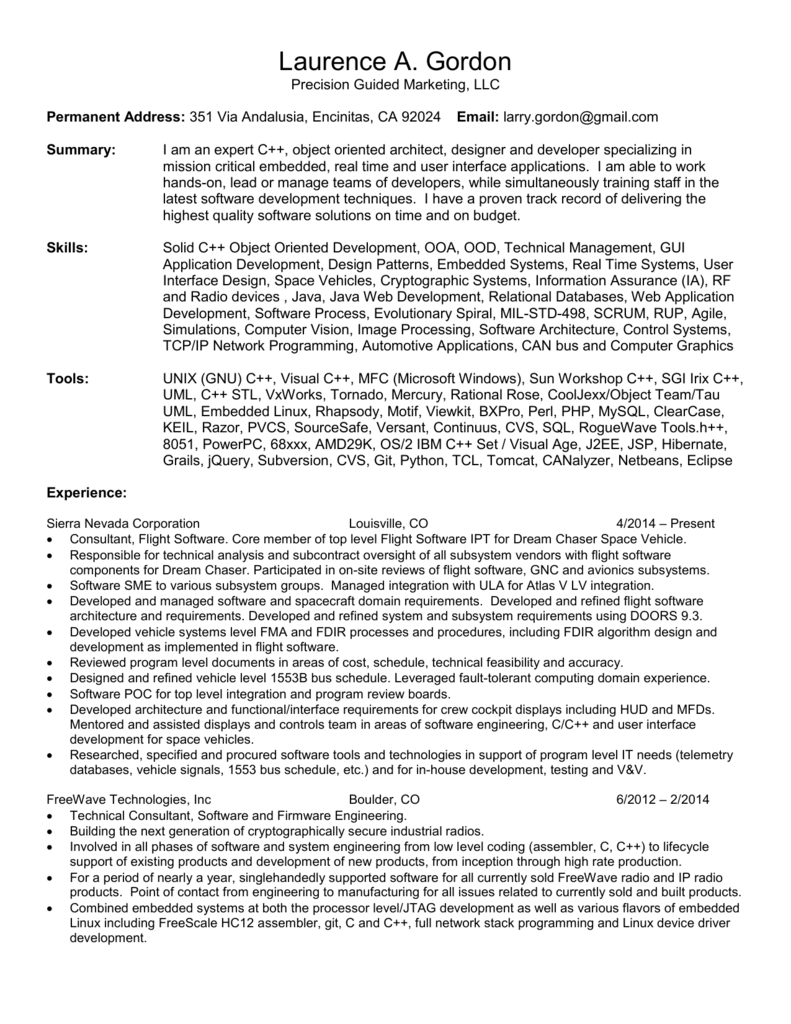 Resume for Laurence A Gordon
