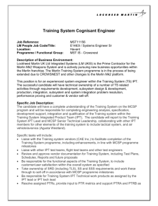 Training System Cognisant Engineer