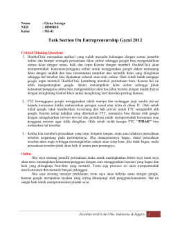Task Section On Entrepreneurship Gazal 2012