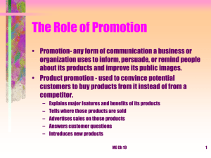 The Role of Promotion ppt