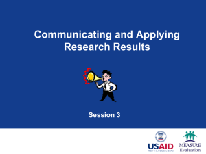 Session 3: Communicating and Applying Research Results