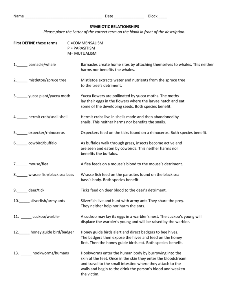 Worksheets Types Of Symbiosis Worksheet worksheet coach janowiak