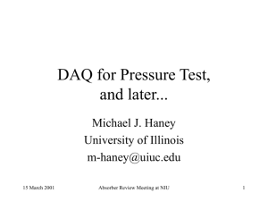 DAQ for Pressure Test, and later