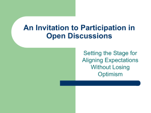 An Invitation to Participation in Open Discussions