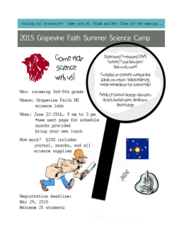 Grapevine Faith Summer Science Camp Registration Form