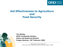DFID and Agriculture