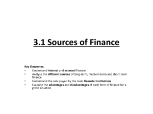 3.1 Sources of Finance - AIS-IB