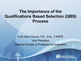 (QBS) Process - National Society of Professional Engineers