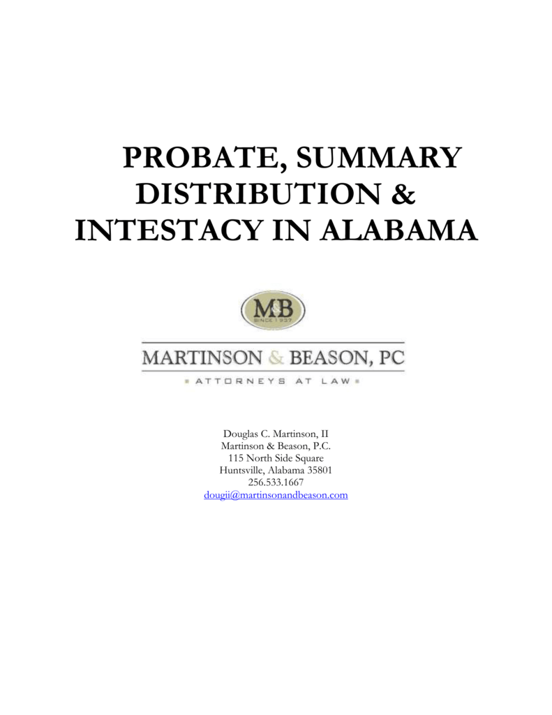 alabama probate overview huntsvillemadison county bar