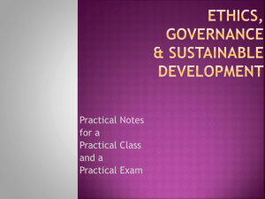 Ethics, Governance & SustaInable development