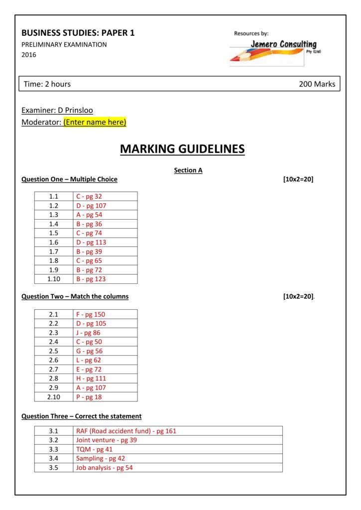 Grade 12 Preliminary Exam – 2016 – Paper 1 – Memo