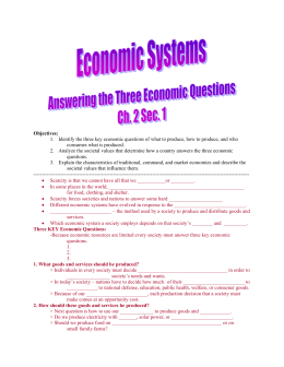 Eco. 2.1 Answering The 3 Economic Questions