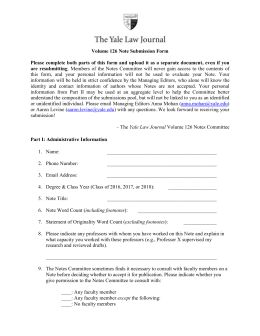 Volume 126 Note Submission Form Please complete both parts of