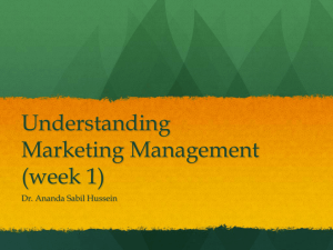 Understanding Marketing Management (week 1)